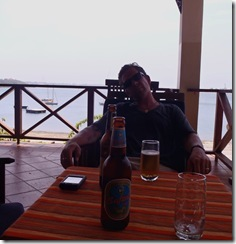 A cooling beverage at the Yatcht Club after beeing let out of the 'clank' in Tanga!