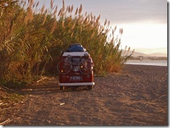Wild camping on the beach in Estepona, Spain.